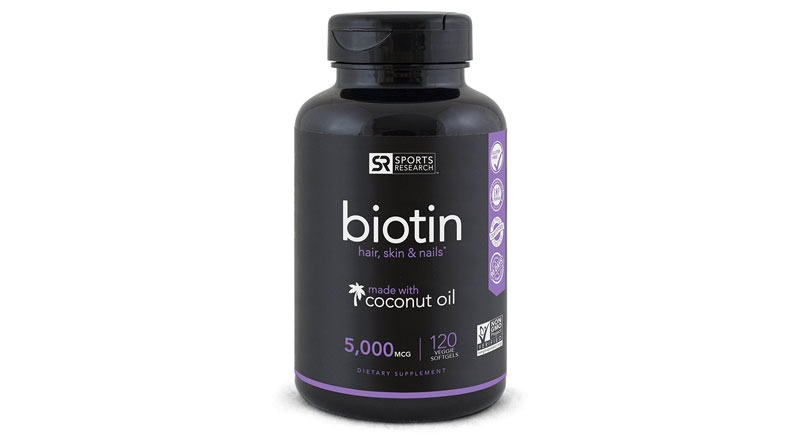 Biotin (High Potency) Enhanced with Coconut Oil – Hair Growth, Glowing Skin, Strong Nails – 120 Mini Veggie Softgels